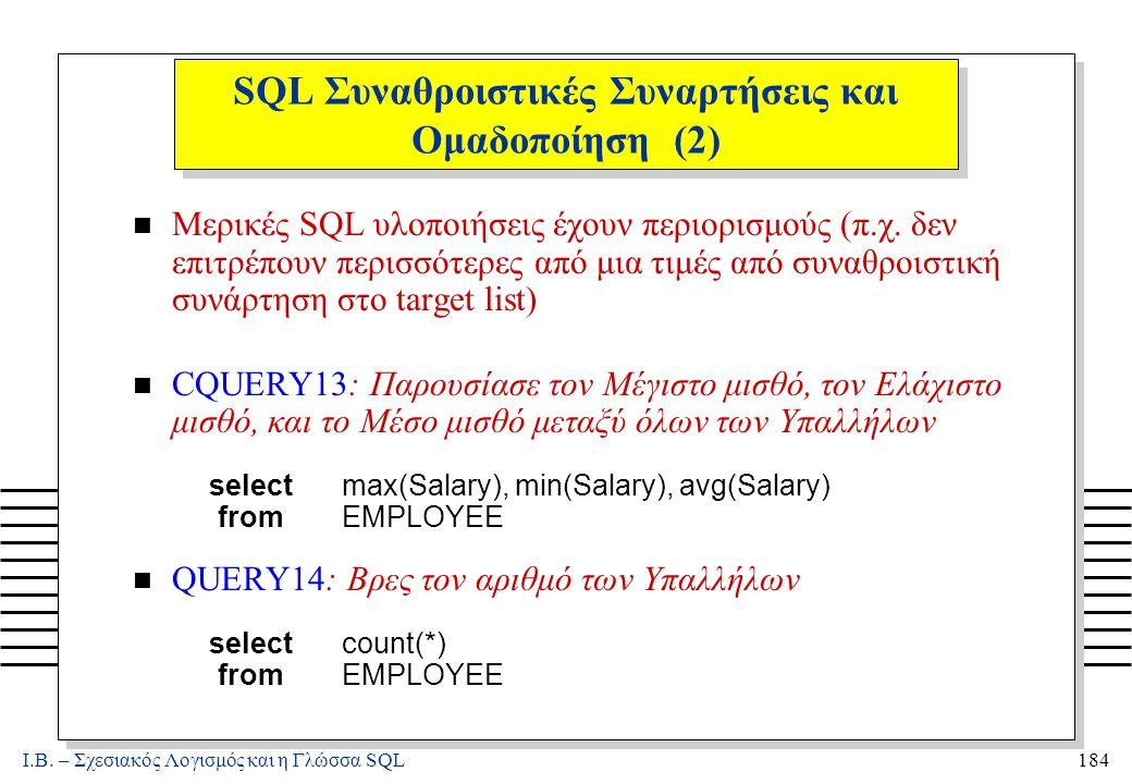Ι.Β. – Σχεσιακός Λογισμός και η Γλώσσα SQL184 SQL Συναθροιστικές Συναρτήσεις και Ομαδοποίηση (2) n Μερικές SQL υλοποιήσεις έχουν περιορισμούς (π.χ. δε