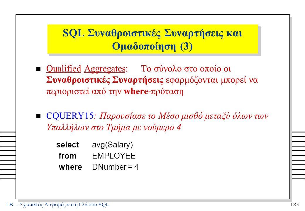 Ι.Β. – Σχεσιακός Λογισμός και η Γλώσσα SQL185 SQL Συναθροιστικές Συναρτήσεις και Ομαδοποίηση (3) n Qualified Aggregates: Το σύνολο στο οποίο οι Συναθρ