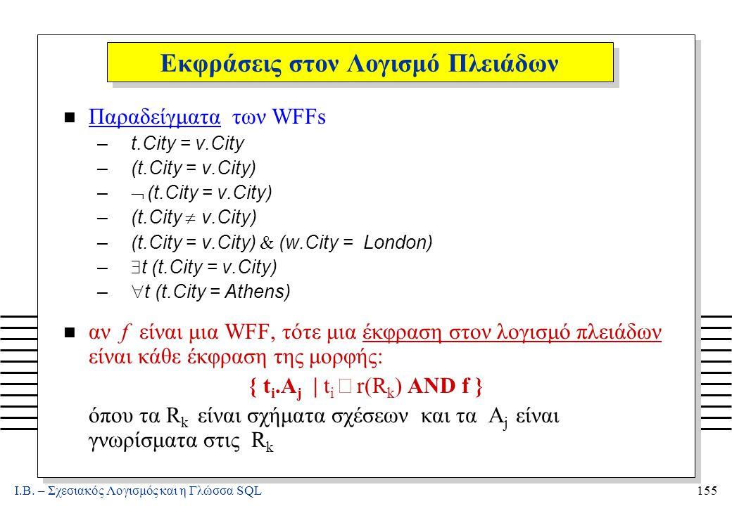 Ι.Β. – Σχεσιακός Λογισμός και η Γλώσσα SQL155 Εκφράσεις στον Λογισμό Πλειάδων n Παραδείγματα των WFFs –t.City = v.City –(t.City = v.City) –  (t.City