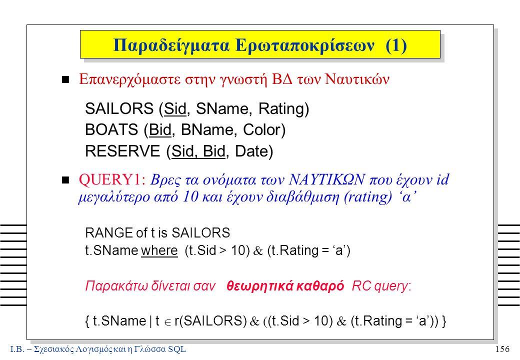 Ι.Β. – Σχεσιακός Λογισμός και η Γλώσσα SQL156 Παραδείγματα Ερωταποκρίσεων (1) n Επανερχόμαστε στην γνωστή ΒΔ των Ναυτικών SAILORS (Sid, SName, Rating)