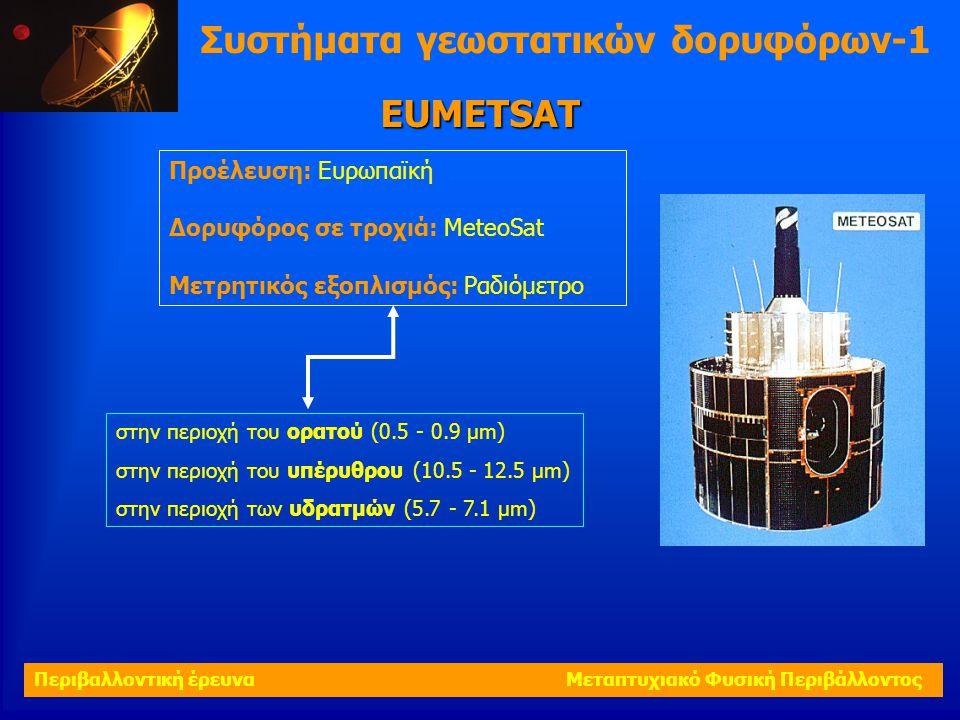 Συστήματα γεωστατικών δορυφόρων-1 Προέλευση: Ευρωπαϊκή Δορυφόρος σε τροχιά: MeteoSat Μετρητικός εξοπλισμός: Ραδιόμετρο EUMETSAT στην περιοχή του ορατο