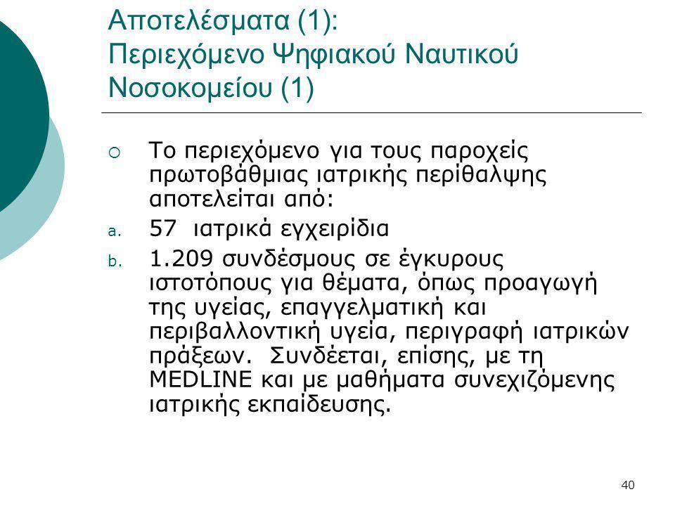 40 Αποτελέσματα (1): Περιεχόμενο Ψηφιακού Ναυτικού Νοσοκομείου (1)  Το περιεχόμενο για τους παροχείς πρωτοβάθμιας ιατρικής περίθαλψης αποτελείται από: a.