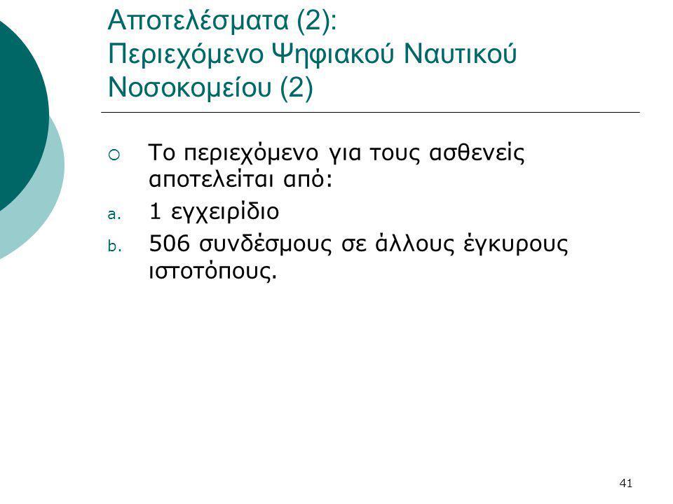 41 Αποτελέσματα (2): Περιεχόμενο Ψηφιακού Ναυτικού Νοσοκομείου (2)  Το περιεχόμενο για τους ασθενείς αποτελείται από: a.