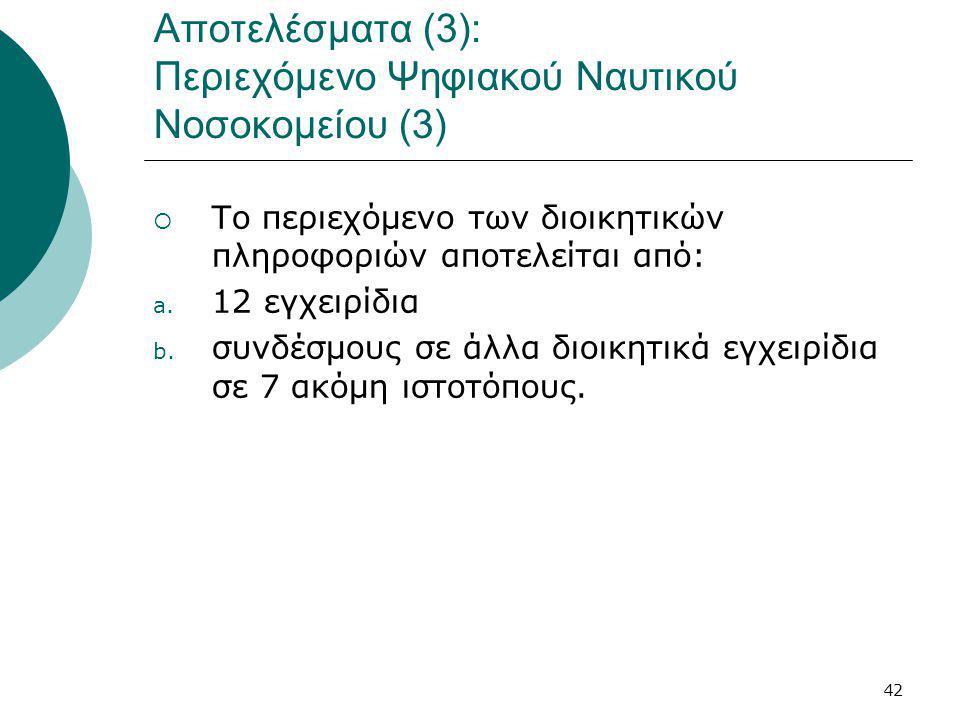 42 Αποτελέσματα (3): Περιεχόμενο Ψηφιακού Ναυτικού Νοσοκομείου (3)  Το περιεχόμενο των διοικητικών πληροφοριών αποτελείται από: a.