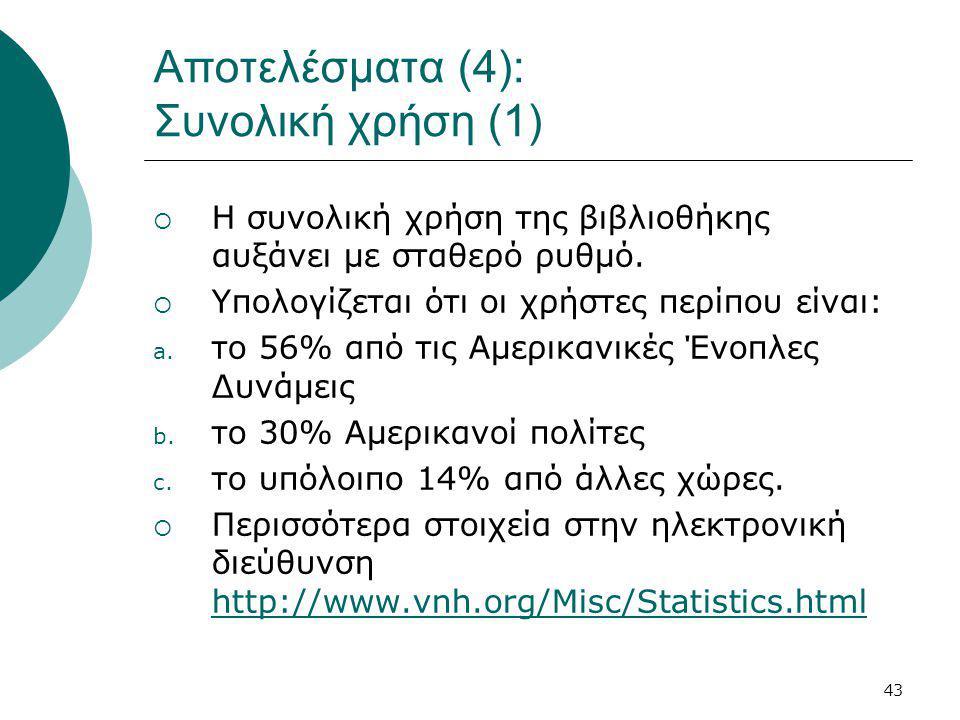43 Αποτελέσματα (4): Συνολική χρήση (1)  Η συνολική χρήση της βιβλιοθήκης αυξάνει με σταθερό ρυθμό.