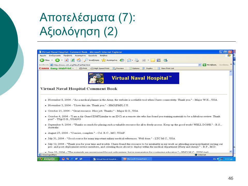 46 Αποτελέσματα (7): Αξιολόγηση (2)