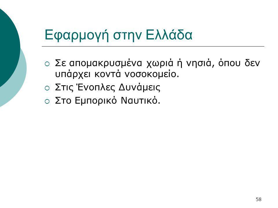 58 Εφαρμογή στην Ελλάδα  Σε απομακρυσμένα χωριά ή νησιά, όπου δεν υπάρχει κοντά νοσοκομείο.