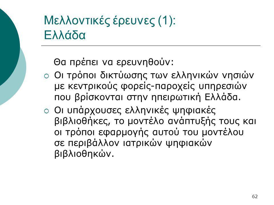 62 Μελλοντικές έρευνες (1): Ελλάδα Θα πρέπει να ερευνηθούν:  Οι τρόποι δικτύωσης των ελληνικών νησιών με κεντρικούς φορείς-παροχείς υπηρεσιών που βρίσκονται στην ηπειρωτική Ελλάδα.