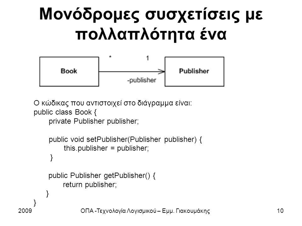 Μονόδρομες συσχετίσεις με πολλαπλότητα ένα 2009ΟΠΑ -Τεχνολογία Λογισμικού – Εμμ. Γιακουμάκης10 Ο κώδικας που αντιστοιχεί στο διάγραμμα είναι: public c