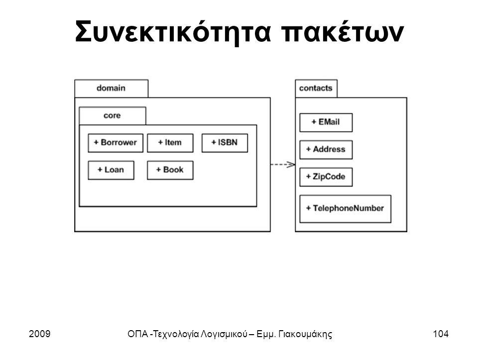 Συνεκτικότητα πακέτων 2009ΟΠΑ -Τεχνολογία Λογισμικού – Εμμ. Γιακουμάκης104