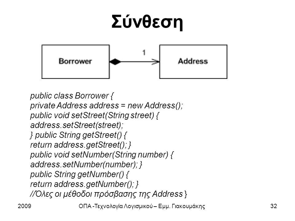 Σύνθεση 2009ΟΠΑ -Τεχνολογία Λογισμικού – Εμμ. Γιακουμάκης32 public class Borrower { private Address address = new Address(); public void setStreet(Str