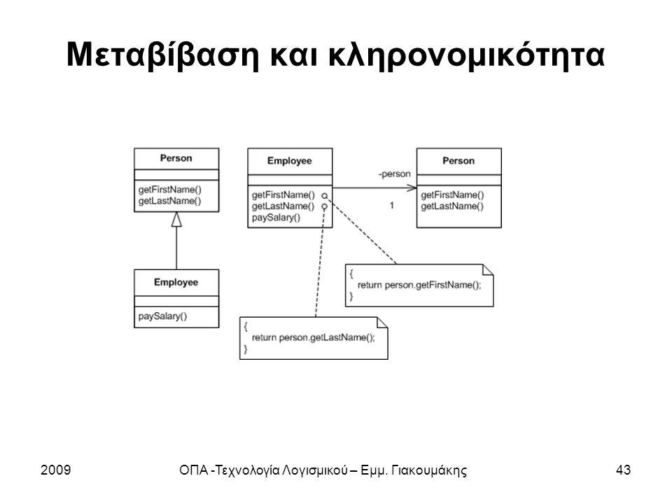Μεταβίβαση και κληρονομικότητα 2009ΟΠΑ -Τεχνολογία Λογισμικού – Εμμ. Γιακουμάκης43