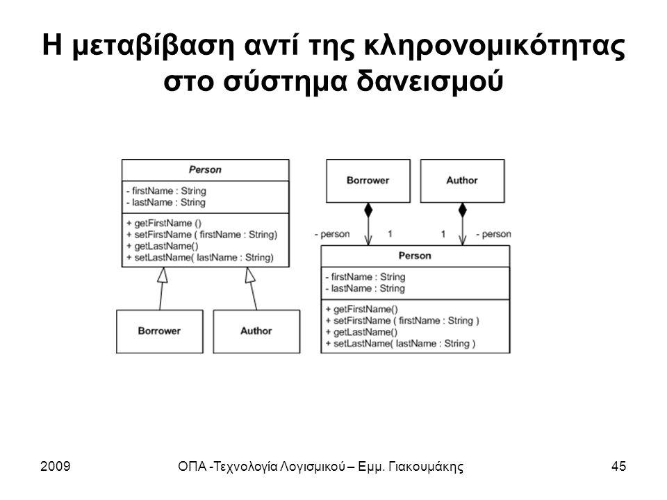 Η μεταβίβαση αντί της κληρονομικότητας στο σύστημα δανεισμού 2009ΟΠΑ -Τεχνολογία Λογισμικού – Εμμ. Γιακουμάκης45