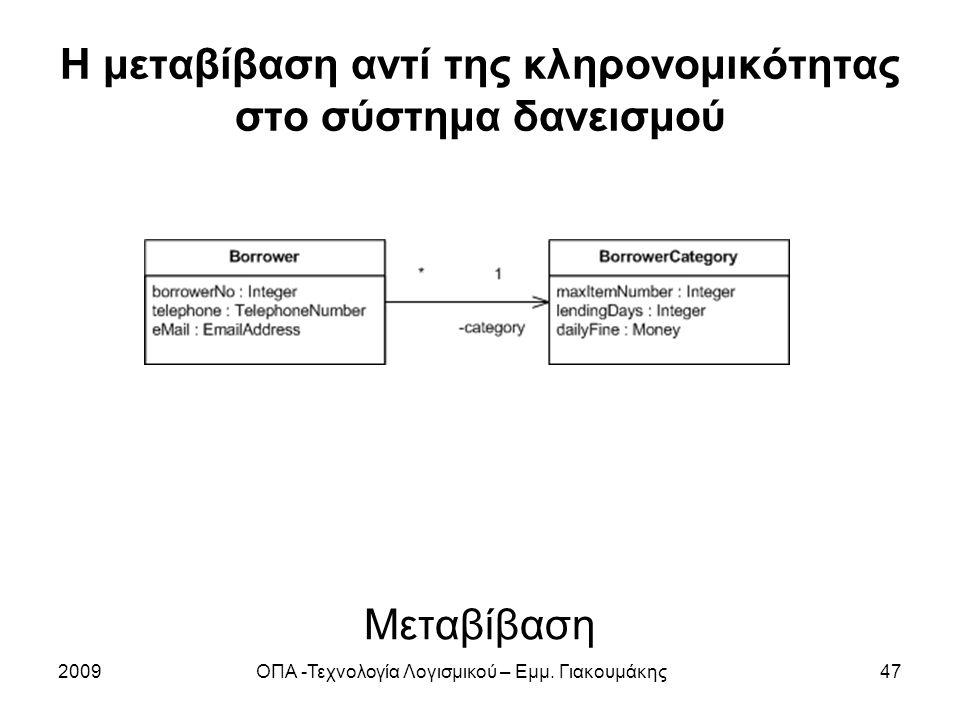 Η μεταβίβαση αντί της κληρονομικότητας στο σύστημα δανεισμού 2009ΟΠΑ -Τεχνολογία Λογισμικού – Εμμ. Γιακουμάκης47 Μεταβίβαση