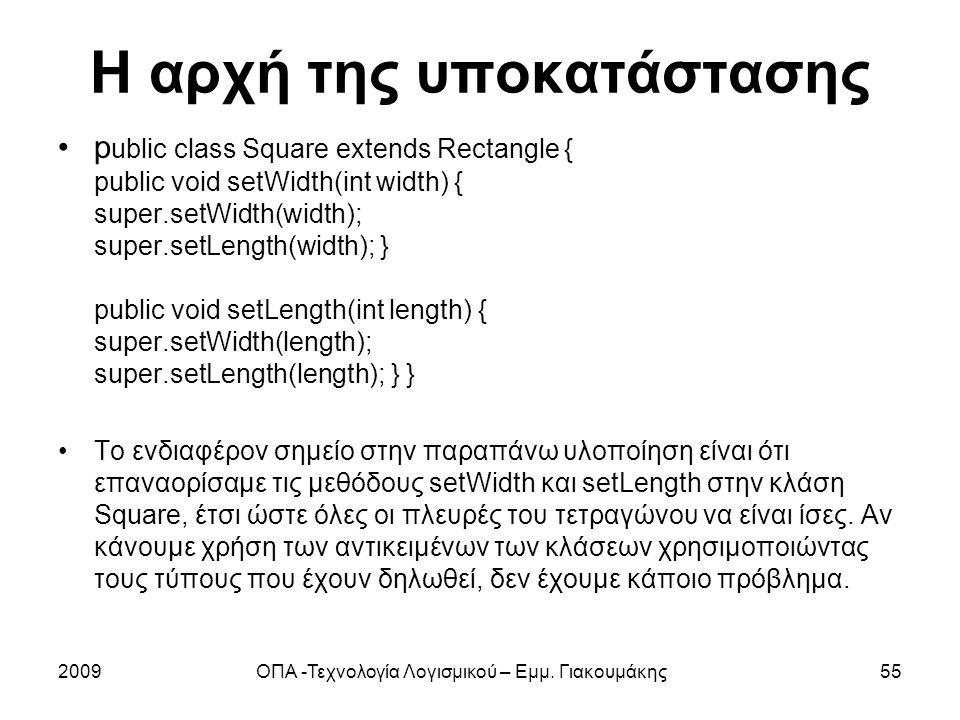 Η αρχή της υποκατάστασης p ublic class Square extends Rectangle { public void setWidth(int width) { super.setWidth(width); super.setLength(width); } p