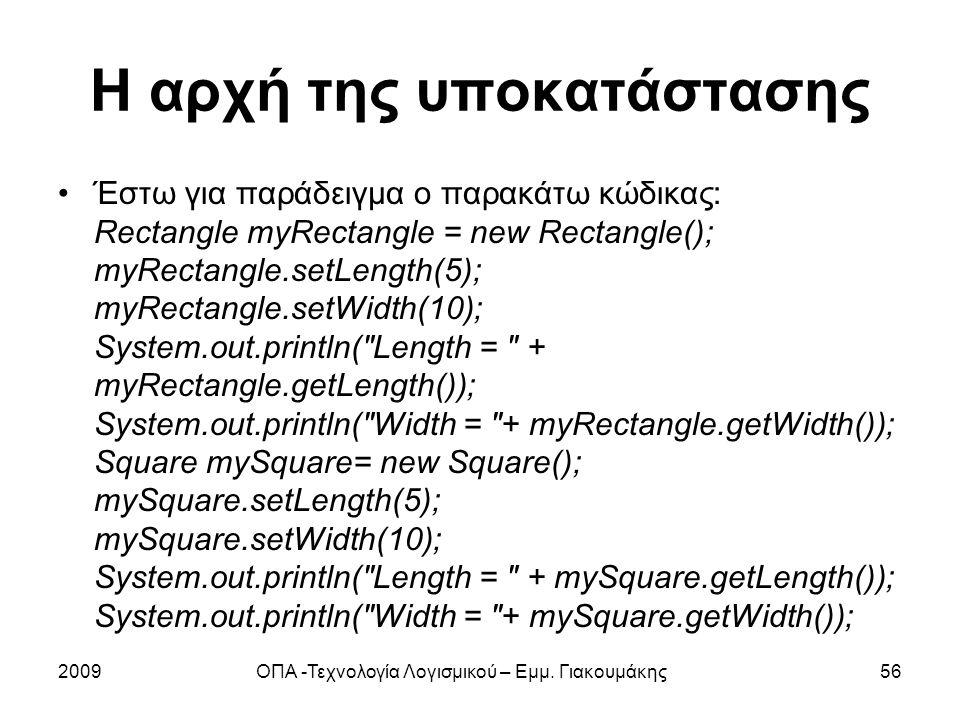 Η αρχή της υποκατάστασης Έστω για παράδειγμα ο παρακάτω κώδικας: Rectangle myRectangle = new Rectangle(); myRectangle.setLength(5); myRectangle.setWid