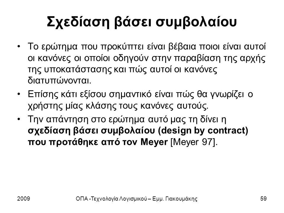 Σχεδίαση βάσει συμβολαίου Το ερώτημα που προκύπτει είναι βέβαια ποιοι είναι αυτοί οι κανόνες οι οποίοι οδηγούν στην παραβίαση της αρχής της υποκατάστα