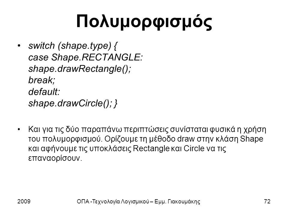 Πολυμορφισμός switch (shape.type) { case Shape.RECTANGLE: shape.drawRectangle(); break; default: shape.drawCircle(); } Και για τις δύο παραπάνω περιπτ