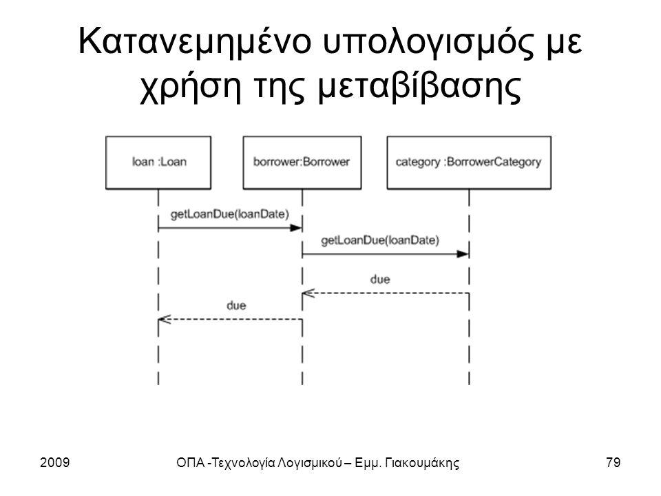 Κατανεμημένο υπολογισμός με χρήση της μεταβίβασης 2009ΟΠΑ -Τεχνολογία Λογισμικού – Εμμ. Γιακουμάκης79