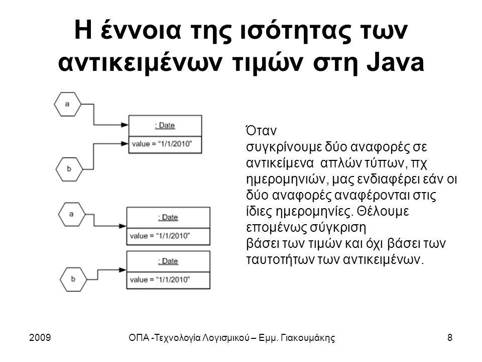Η έννοια της ισότητας των αντικειμένων τιμών στη Java 2009ΟΠΑ -Τεχνολογία Λογισμικού – Εμμ. Γιακουμάκης8 Όταν συγκρίνουμε δύο αναφορές σε αντικείμενα