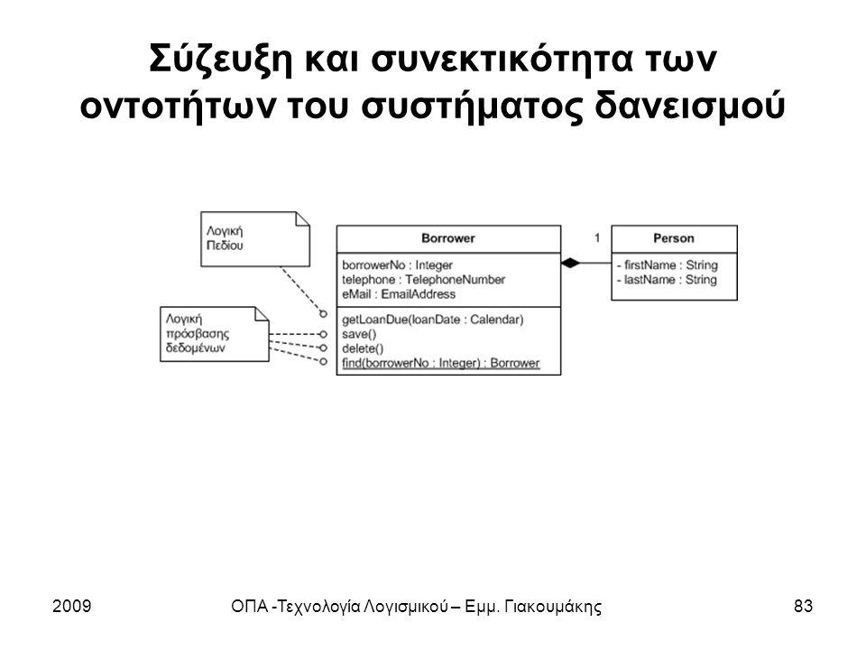 Σύζευξη και συνεκτικότητα των οντοτήτων του συστήματος δανεισμού 2009ΟΠΑ -Τεχνολογία Λογισμικού – Εμμ. Γιακουμάκης83