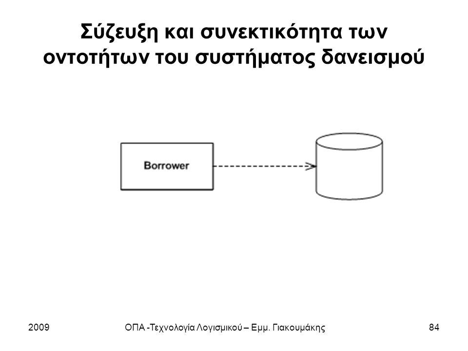 Σύζευξη και συνεκτικότητα των οντοτήτων του συστήματος δανεισμού 2009ΟΠΑ -Τεχνολογία Λογισμικού – Εμμ. Γιακουμάκης84
