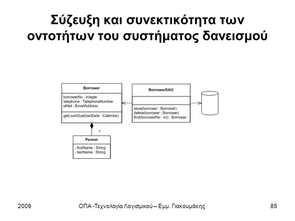 Σύζευξη και συνεκτικότητα των οντοτήτων του συστήματος δανεισμού 2009ΟΠΑ -Τεχνολογία Λογισμικού – Εμμ. Γιακουμάκης85