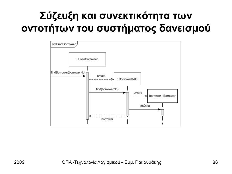 Σύζευξη και συνεκτικότητα των οντοτήτων του συστήματος δανεισμού 2009ΟΠΑ -Τεχνολογία Λογισμικού – Εμμ. Γιακουμάκης86