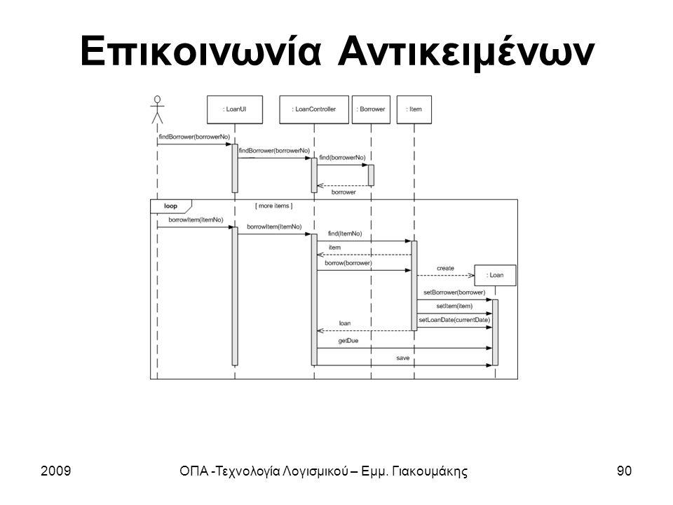 Επικοινωνία Αντικειμένων 2009ΟΠΑ -Τεχνολογία Λογισμικού – Εμμ. Γιακουμάκης90