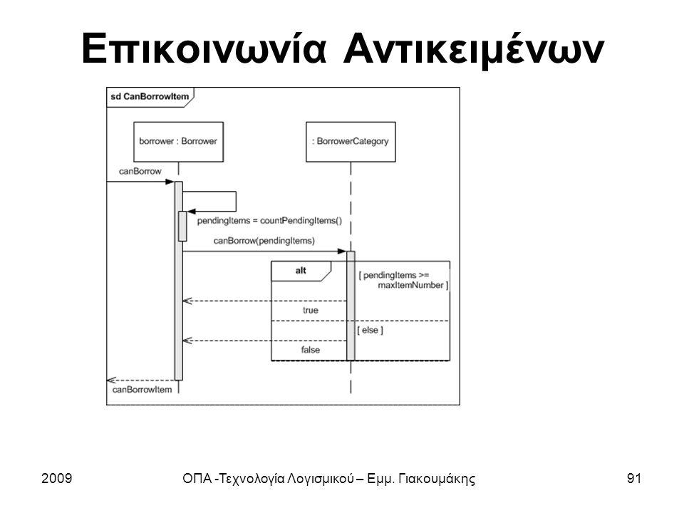 Επικοινωνία Αντικειμένων 2009ΟΠΑ -Τεχνολογία Λογισμικού – Εμμ. Γιακουμάκης91
