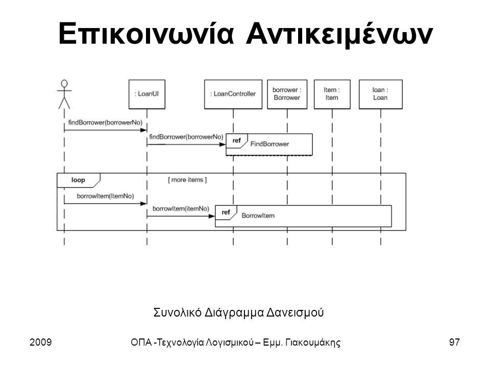 Επικοινωνία Αντικειμένων 2009ΟΠΑ -Τεχνολογία Λογισμικού – Εμμ. Γιακουμάκης97 Συνολικό Διάγραμμα Δανεισμού