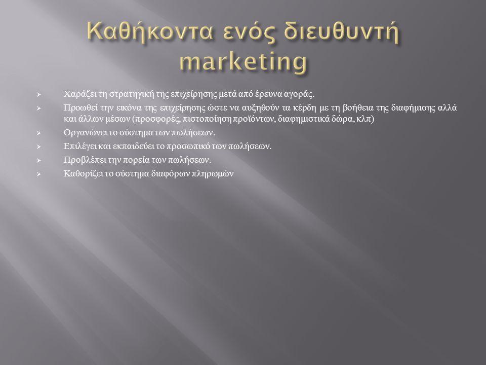  Χαράζει τη στρατηγική της επιχείρησης μετά από έρευνα αγοράς.