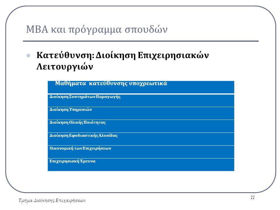 ΜΒΑ και πρόγραμμα σπουδών Κατεύθυνση: Διοίκηση Επιχειρησιακών Λειτουργιών Τμήμα Διοίκησης Επιχειρήσεων 11 Μαθήματα κατεύθυνσης υποχρεωτικά Διοίκηση Συστημάτων Παραγωγής Διοίκηση Υπηρεσιών Διοίκηση Ολικής Ποιότητας Διοίκηση Εφοδιαστικής Αλυσίδας Οικονομική των Επιχειρήσεων Επιχειρησιακή Έρευνα