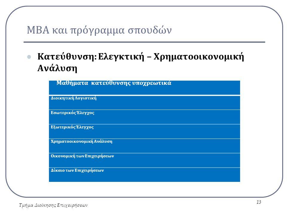 ΜΒΑ και πρόγραμμα σπουδών Κατεύθυνση: Ελεγκτική – Χρηματοοικονομική Ανάλυση Τμήμα Διοίκησης Επιχειρήσεων 13 Μαθήματα κατεύθυνσης υποχρεωτικά Διοικητική Λογιστική Εσωτερικός Έλεγχος Εξωτερικός Έλεγχος Χρηματοοικονομική Ανάλυση Οικονομική των Επιχειρήσεων Δίκαιο των Επιχειρήσεων