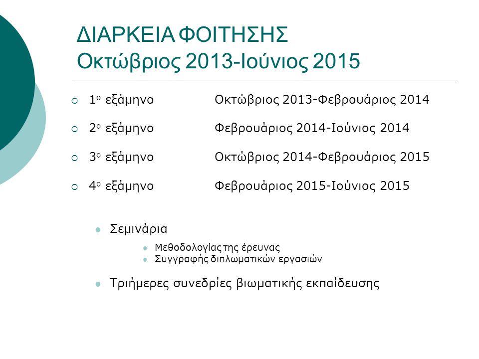 ΔΙΑΡΚΕΙΑ ΦΟΙΤΗΣΗΣ Οκτώβριος 2013-Ιούνιος 2015  1 ο εξάμηνοΟκτώβριος 2013-Φεβρουάριος 2014  2 ο εξάμηνοΦεβρουάριος 2014-Ιούνιος 2014  3 ο εξάμηνοΟκτώβριος 2014-Φεβρουάριος 2015  4 ο εξάμηνοΦεβρουάριος 2015-Ιούνιος 2015 Σεμινάρια Μεθοδολογίας της έρευνας Συγγραφής διπλωματικών εργασιών Τριήμερες συνεδρίες βιωματικής εκπαίδευσης