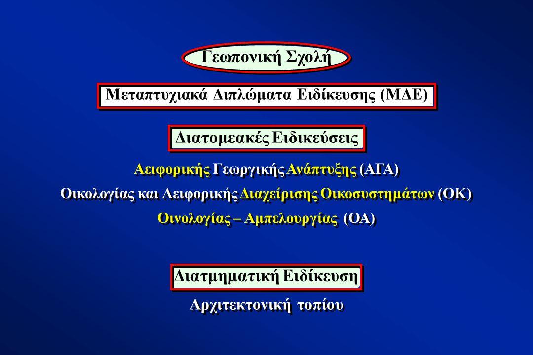 Αειφορικής Γεωργικής Ανάπτυξης (ΑΓΑ) Οικολογίας και Αειφορικής Διαχείρισης Οικοσυστημάτων (ΟΚ) Οινολογίας – Αμπελουργίας (ΟΑ) Αειφορικής Γεωργικής Ανάπτυξης (ΑΓΑ) Οικολογίας και Αειφορικής Διαχείρισης Οικοσυστημάτων (ΟΚ) Οινολογίας – Αμπελουργίας (ΟΑ) Αρχιτεκτονική τοπίου Μεταπτυχιακά Διπλώματα Ειδίκευσης (ΜΔΕ) Γεωπονική Σχολή Διατομεακές Ειδικεύσεις Διατμηματική Ειδίκευση
