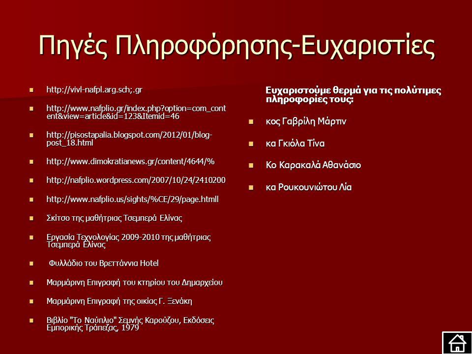 Πηγές Πληροφόρησης-Ευχαριστίες http://vivl-nafpl.arg.sch;.gr http://vivl-nafpl.arg.sch;.gr http://www.nafplio.gr/index.php?option=com_cont ent&view=article&id=123&Itemid=46 http://www.nafplio.gr/index.php?option=com_cont ent&view=article&id=123&Itemid=46 http://pisostapalia.blogspot.com/2012/01/blog- post_18.html http://pisostapalia.blogspot.com/2012/01/blog- post_18.html http://www.dimokratianews.gr/content/4644/% http://www.dimokratianews.gr/content/4644/% http://nafplio.wordpress.com/2007/10/24/2410200 http://nafplio.wordpress.com/2007/10/24/2410200 http://www.nafplio.us/sights/%CE/29/page.htmll http://www.nafplio.us/sights/%CE/29/page.htmll Σκίτσο της μαθήτριας Τσεμπερά Ελίνας Σκίτσο της μαθήτριας Τσεμπερά Ελίνας Εργασία Τεχνολογίας 2009-2010 της μαθήτριας Τσεμπερά Ελίνας Εργασία Τεχνολογίας 2009-2010 της μαθήτριας Τσεμπερά Ελίνας Φυλλάδιο του Βρεττάννια Hotel Φυλλάδιο του Βρεττάννια Hotel Μαρμάρινη Επιγραφή του κτηρίου του Δημαρχείου Μαρμάρινη Επιγραφή του κτηρίου του Δημαρχείου Μαρμάρινη Επιγραφή της οικίας Γ.