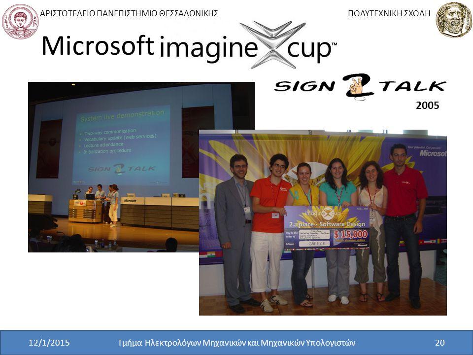 ΑΡΙΣΤΟΤΕΛΕΙΟ ΠΑΝΕΠΙΣΤΗΜΙΟ ΘΕΣΣΑΛΟΝΙΚΗΣ ΠΟΛΥΤΕΧΝΙΚΗ ΣΧΟΛΗ Τμήμα Ηλεκτρολόγων Μηχανικών και Μηχανικών Υπολογιστών20 Microsoft 2005 12/1/2015