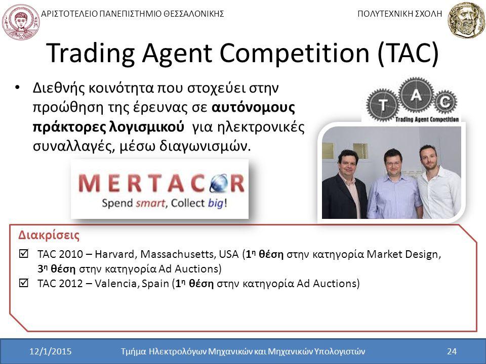 ΑΡΙΣΤΟΤΕΛΕΙΟ ΠΑΝΕΠΙΣΤΗΜΙΟ ΘΕΣΣΑΛΟΝΙΚΗΣ ΠΟΛΥΤΕΧΝΙΚΗ ΣΧΟΛΗ Trading Agent Competition (TAC) Τμήμα Ηλεκτρολόγων Μηχανικών και Μηχανικών Υπολογιστών24 Διεθνής κοινότητα που στοχεύει στην προώθηση της έρευνας σε αυτόνομους πράκτορες λογισμικού για ηλεκτρονικές συναλλαγές, μέσω διαγωνισμών.