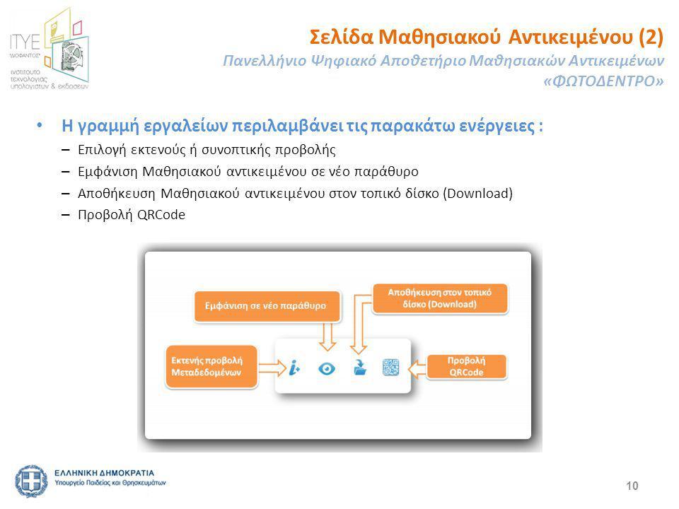 10 Η γραμμή εργαλείων περιλαμβάνει τις παρακάτω ενέργειες : – Επιλογή εκτενούς ή συνοπτικής προβολής – Εμφάνιση Μαθησιακού αντικειμένου σε νέο παράθυρο – Αποθήκευση Μαθησιακού αντικειμένου στον τοπικό δίσκο (Download) – Προβολή QRCode Σελίδα Μαθησιακού Αντικειμένου (2) Πανελλήνιο Ψηφιακό Αποθετήριο Μαθησιακών Αντικειμένων «ΦΩΤΟΔΕΝΤΡΟ»