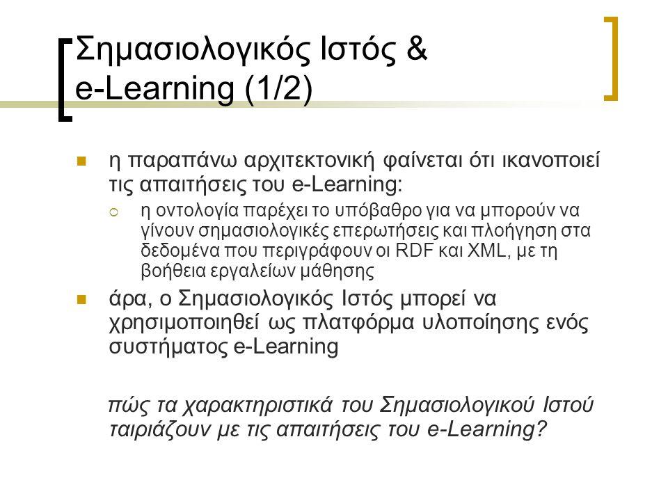 Σημασιολογικός Ιστός & e-Learning (1/2) η παραπάνω αρχιτεκτονική φαίνεται ότι ικανοποιεί τις απαιτήσεις του e-Learning:  η οντολογία παρέχει το υπόβα