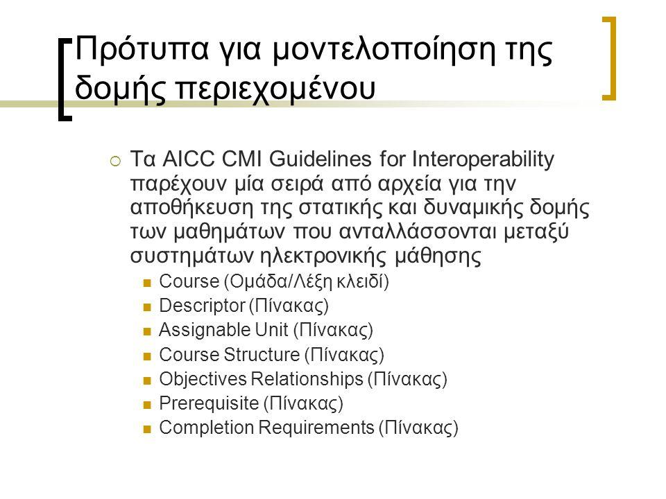 Πρότυπα για μοντελοποίηση της δομής περιεχομένου  Τα AICC CMI Guidelines for Interoperability παρέχουν μία σειρά από αρχεία για την αποθήκευση της στ