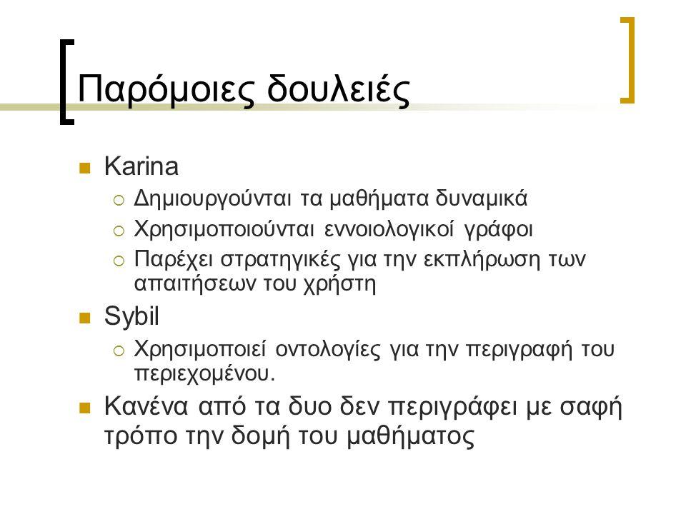 Παρόμοιες δουλειές Karina  Δημιουργούνται τα μαθήματα δυναμικά  Χρησιμοποιούνται εννοιολογικοί γράφοι  Παρέχει στρατηγικές για την εκπλήρωση των απ