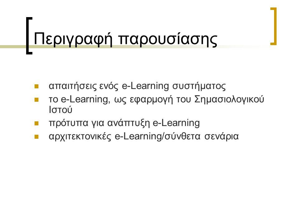 Περιγραφή παρουσίασης απαιτήσεις ενός e-Learning συστήματος το e-Learning, ως εφαρμογή του Σημασιολογικού Ιστού πρότυπα για ανάπτυξη e-Learning αρχιτε