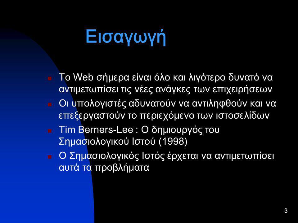 3 Εισαγωγή Το Web σήμερα είναι όλο και λιγότερο δυνατό να αντιμετωπίσει τις νέες ανάγκες των επιχειρήσεων Οι υπολογιστές αδυνατούν να αντιληφθούν και να επεξεργαστούν το περιεχόμενο των ιστοσελίδων Tim Berners-Lee : Ο δημιουργός του Σημασιολογικού Ιστού (1998) Ο Σημασιολογικός Ιστός έρχεται να αντιμετωπίσει αυτά τα προβλήματα