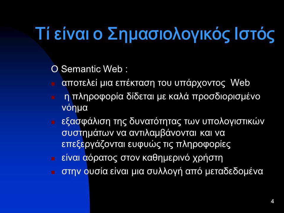 4 Τί είναι ο Σημασιολογικός Ιστός Ο Semantic Web : αποτελεί µια επέκταση του υπάρχοντος Web η πληροφορία δίδεται µε καλά προσδιορισµένο νόηµα εξασφάλιση της δυνατότητας των υπολογιστικών συστηµάτων να αντιλαµβάνονται και να επεξεργάζονται ευφυώς τις πληροφορίες είναι αόρατος στον καθημερινό χρήστη στην ουσία είναι μια συλλογή από μεταδεδομένα