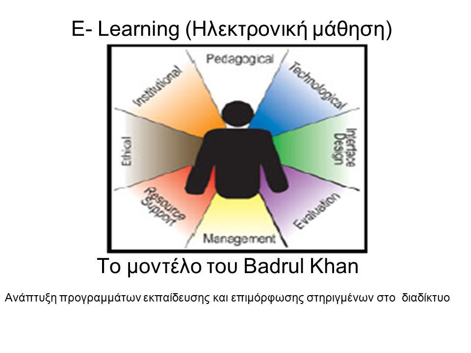 E- Learning (Ηλεκτρονική μάθηση) Το μοντέλο του Badrul Khan Ανάπτυξη προγραμμάτων εκπαίδευσης και επιμόρφωσης στηριγμένων στο διαδίκτυο