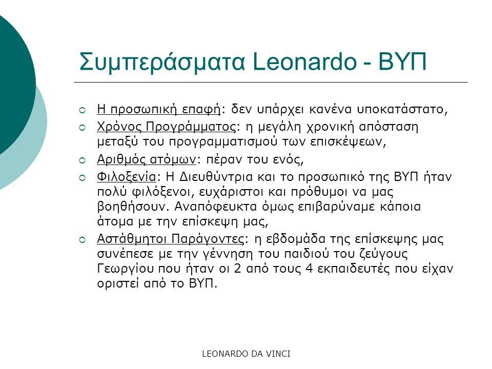 Συμπεράσματα Leonardo - ΒΥΠ  Η προσωπική επαφή: δεν υπάρχει κανένα υποκατάστατο,  Χρόνος Προγράμματος: η μεγάλη χρονική απόσταση μεταξύ του προγραμματισμού των επισκέψεων,  Αριθμός ατόμων: πέραν του ενός,  Φιλοξενία: Η Διευθύντρια και το προσωπικό της ΒΥΠ ήταν πολύ φιλόξενοι, ευχάριστοι και πρόθυμοι να μας βοηθήσουν.