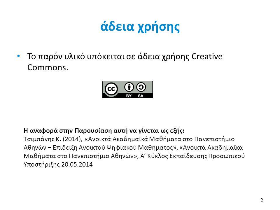άδεια χρήσης Το παρόν υλικό υπόκειται σε άδεια χρήσης Creative Commons. 2 Η αναφορά στην Παρουσίαση αυτή να γίνεται ως εξής: Τσιμπάνης Κ. (2014), «Ανο