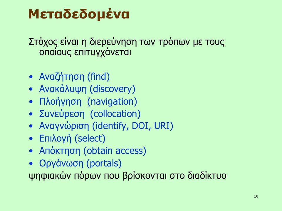 10 Μεταδεδομένα Στόχος είναι η διερεύνηση των τρόπων με τους οποίους επιτυγχάνεται Αναζήτηση (find) Ανακάλυψη (discovery) Πλοήγηση (navigation) Συνεύρ